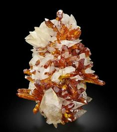 White calcite with orpiment