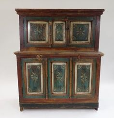 Swedish Painted Pine Step Back Cabinet