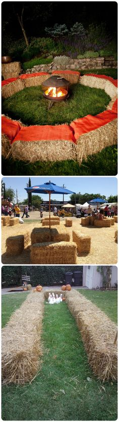 Bales of pine straw for fire pit seating! We could move the bales into a circle after the ceremony.