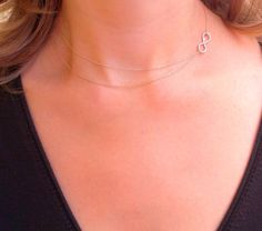 Double layer sideways infinity rose gold necklace rose by Omoroka