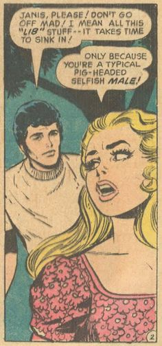 Vintage Comic -- Girl and guy fight