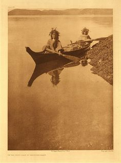"""On the west coast of Vancouver Island, 1915. Photogravure. Curtis Caption: """"Lacking hats to protect their heads from the sun, women sometimes make use of wreaths of foliage."""""""