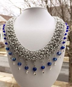 Exotic Chainmaille Rondo Necklace with Cobalt Beads