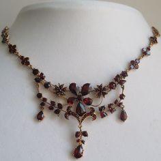 Antique Victorian Edwardian Belle Epoque Flower Bohemian Garnet Dangle Necklace