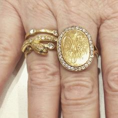 "A master at stacking! We love what @anabelhigginsjewelry is wearing together! Single Stone bands, Circa 1700 snake, and her own ""Scout"" ring! @circa1700 @singlestonela"