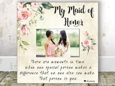 Maid of Honor Gift Sister Maid Of Honor Frame Maid of Honor Sister Gift Best Friend Maid of Honor Personalized Picture Frame Matron of Honor Maid Of Honour Gifts, Matron Of Honour, Maid Of Honor, Sister Gifts, Mother Gifts, Christening Gifts For Girls, Photo Frame Design, Personalized Picture Frames, Wedding Frames