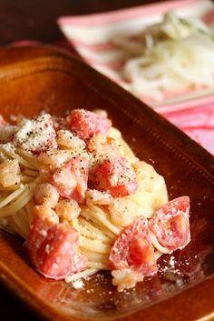 【海老とトマトのクリームパスタ】   美肌レシピ