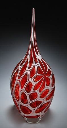 Red Murrine Resistenza Art Glass Vessel created by David Patchen on Artful Home