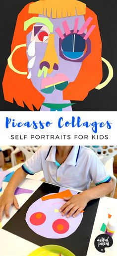 These colorful Picasso collages help kids explore identity as they create self portraits by cutting and assembling paper. For Kids Pablo Picasso Collages Inspire Kids to Explore Identity With Self-Portraits Pablo Picasso, Picasso Collage, Collage Art, Picasso Portraits, Kids Collage, Picasso Kids, Collage Portrait, Picasso Art, Collage Ideas