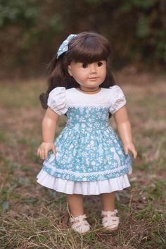 Blue And White Fabric, Christopher Robin, Bear Party, Ag Doll Clothes, Old Dolls, Crochet Lace, American Girl, New Dress, Hair Bows