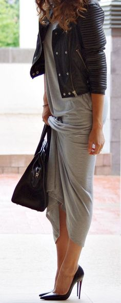 grey maxi dress, black leather jacket, black stilletos