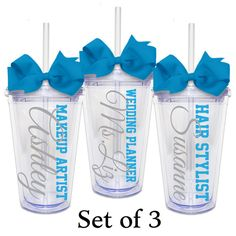 Wedding Planner, Hair Stylist, and Makeup Artist, Set of 3 - Acrylic Tumbler Personalized Cup