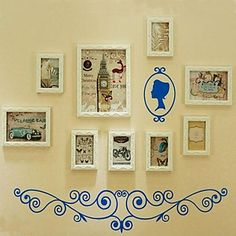 White Color Photo Frame Collection Set of 9 with Wall Sticker  – USD $ 89.99