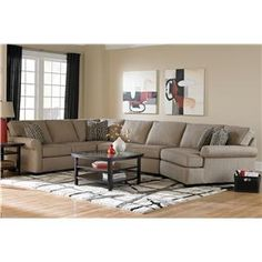 Broyhill Furniture Ethan Transitional Sectional Sofa with Right Facing Cuddler Chair (Baer's)