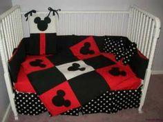 Adorable New MICKEY MOUSE Crib Bedding Set w/ polka dot fabrics