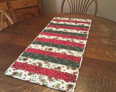 Quilted table runner, Christmas table runner, holiday table runner, country christmas table runner, red, green, white. gold