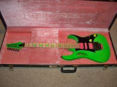 1987 Ibanez JEM777LNG (Loch Ness Green) Low serial number indicated by the palm rest over the bridge.