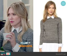 Kelsey's grey sweater with white collar on Younger.  Outfit Details: http://wornontv.net/49348/ #Younger