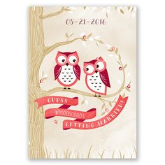 Owl You Need is Love - Guava - Invitation