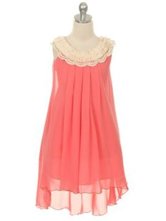 Coral Chiffon Crochet Neckline Flower Girl Dress (Available in Sizes 4-14 in 7 Colors) - Junior Bridesmaid Dresses - JUNIOR