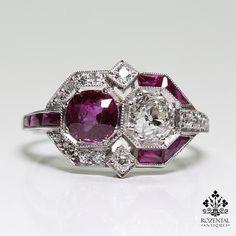 Antique Art Deco Platinum Ruby (GIA certified) & Diamond Ring
