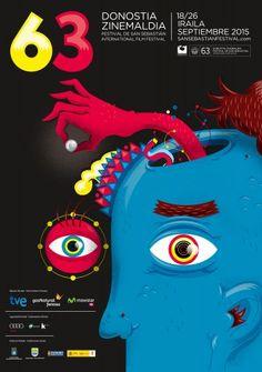 63º Festival de San Sebastián año 2015. Cartel oficial. Titulo: El espectador. Autores: Matías Francolino y Blanka Barrio