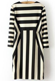 Black White Long Sleeve Asymmetrical Striped Dress - Sheinside.com
