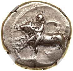 Thessaly, Larissa. Silver Drachm (6.06 g), early-mid 4th century BC Youth, with petasos tied at neck, wrestling bull left. ΛAPI/ΣAIA in two lines above, bridled horse galloping left within incuse square. BCD Thessaly II 370.2 (same dies). Lightly toned. Estimated Value $200 - 250. #Coins #Ancient #Silver #MADonC