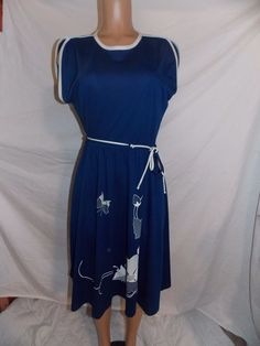 Vintage Alfred Shaheen Signed Hawaii Blue Polyester  Dress Size 14   INV#0250 #AlfredShaheen
