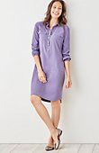 Love this style shirtdress.  I like the idea that it has side pockets, but not that you can see the stitchdown pocket outline in the front.  Lilac is ok, but not a favorite color.