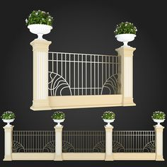 Fence 015 by ThemeREX High quality polygonal model of fence.max Max 2010 for separate models .max Max 2010 for the scene, wh House Fence Design, Balcony Design, Classic Fence, Boundry Wall, House 3d Model, Pillar Design, Compound Wall, Iron Gate Design, Ceiling Design Living Room