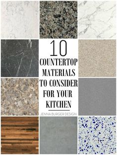10 Countertop Materials to Consider for your KITCHEN! Round up of material choic. - 10 Countertop Materials to Consider for your KITCHEN! Round up of material choices at www. Kitchen Countertop Materials, Kitchen Cabinets, Countertop Options, Concrete Kitchen, Kitchen Island Countertop Ideas, Best Countertop Material, Types Of Kitchen Countertops, Countertop Decor, Kitchen Worktop