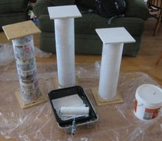 Painting the pillars for the Toga Party