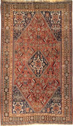"""Landry& Arcari - Antique Qashqai Rug #JF4838.  Hand-knotted in Persia. Circa 1920. Size: 5'2 x 8'6"""""""