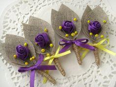 Set of 8- Purple Flower burlap Boutonniere (buttonhole)-Yellow & Purple