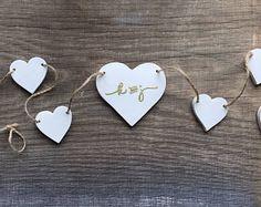 White clay garland wedding decor, baby shower decor, custom embossed gold initials, rustic wedding decor