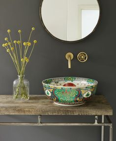 Bowl sink- bohemian bathroom