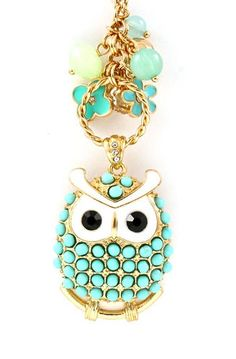 Mint Owl Charm Necklace ♥