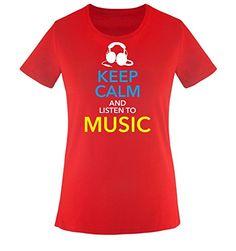 Comedy Shirts - KEEP CALM... MUSIC - mujer T-Shirt camiseta - rojo / blanco-azul-amarillo tamaño XS #camiseta #starwars #marvel #gift