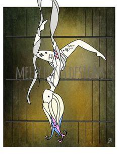 Harley Quinn Inspired Print, HQ as an Aerialist