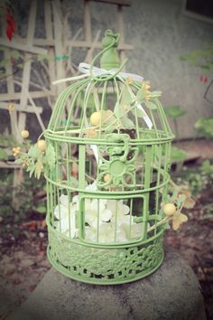 Metal Green cottage bird cage decorated by perfectlywhimsical, $34.99