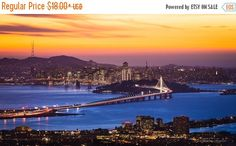 Cityscape Photograph, San Francisco City Lights Print, Skyline New Bay Bridge Sunset Canvas, Gold Blue Oversized Wall Art, Home Office Decor by SusanTaylorPhoto on Etsy