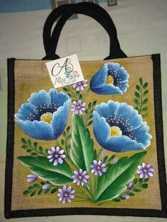 Embroidery Suits Design, Embroidery Patterns, Creative Arts And Crafts, Diy And Crafts, Fabric Painting, Fabric Art, Fabric Paint Designs, Painted Bags, One Stroke Painting