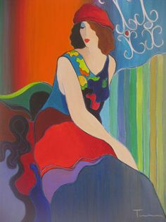"Original Painting ""Colorful Pose"" by Itzchak Tarkay"