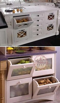 15 Insanely Cool Ideas for Storing Fresh Produce Storing fresh produce correctly and safely is also a great way to save your money and food. Tomatoes, potatoes, garlic, onions and … Home Decor Kitchen, Kitchen Furniture, New Kitchen, Home Kitchens, Diy Furniture, 10x10 Kitchen, Small Kitchens, Furniture Storage, Kitchen Modern