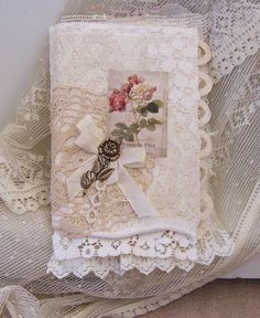 Vintage laces fabric collage handmade book