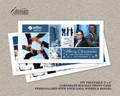 Corporate Christmas Photo Cards With Logo | Printable Business Christmas Cards With Photo And Company Logo | Digital Custom Office Xmas Card by iDesignStationery on Etsy
