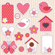 Vector Scrapbook Elements - Love Set Royalty Free Cliparts, Vectors, And Stock Illustration. Scrapbooking Cadre Photo, Scrapbooking Layouts, Scrapbook Paper, Scrapbook Templates, Printable Labels, Printable Stickers, Free Printables, Planner Stickers, Paper Art