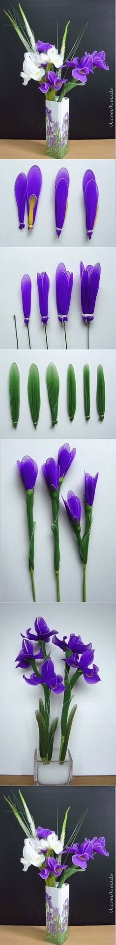 DIY Easy Wrapped Nylon Flowers IRIS: