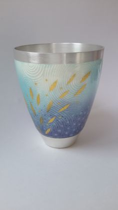 Ruth Ball - enamel on silver beaker. Exhibitied at goldsmiths fair 2014. Copyright Ruth Ball C2014 All rights reserved.